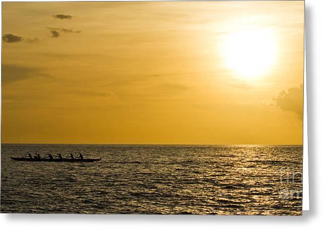 ; Maui Greeting Cards - Hawaiian Outrigger Canoe Sunset Greeting Card by Dustin K Ryan