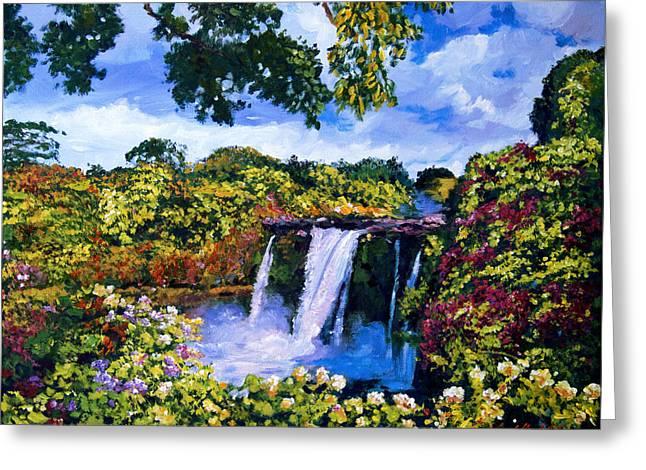 Most Paintings Greeting Cards - Hawaiian Paradise Falls Greeting Card by David Lloyd Glover