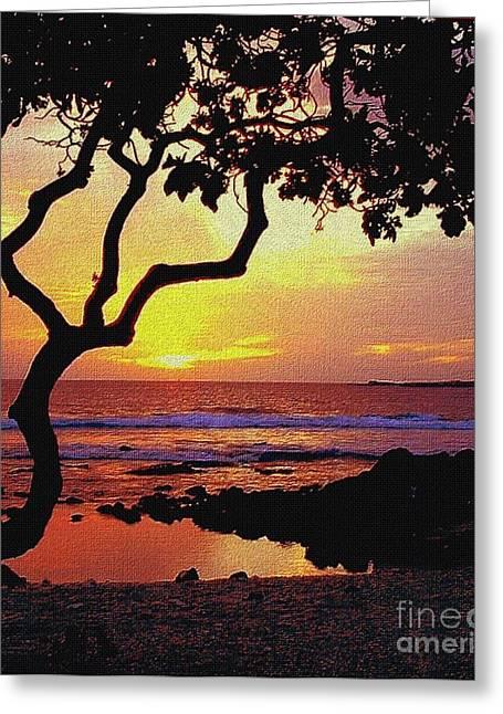 Seacape Digital Art Greeting Cards - Hawaiian Sunset Greeting Card by Diana Nigon