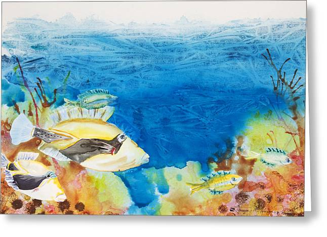 Nature Scene Paintings Greeting Cards - Hawaiian Triggerfish Greeting Card by Tanya L Haynes - Printscapes