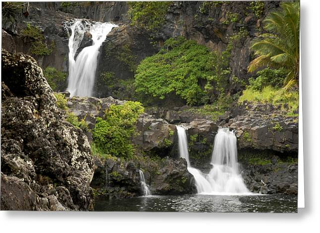 Hawii Greeting Cards - Hawaiian Waterfall Greeting Card by Don Wolf