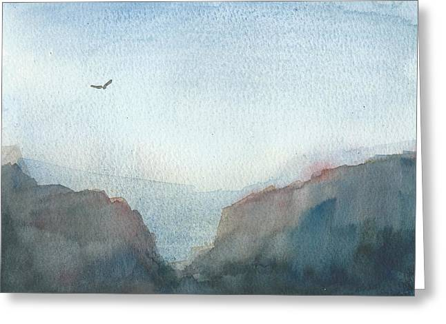 Hawk Above The Red Cliffs Greeting Card by Alan Daysh