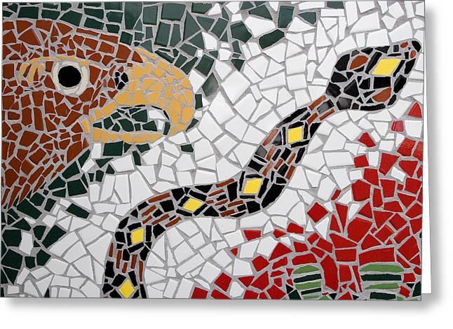 Hawk And Snake Mosaic Greeting Card by Carol Leigh