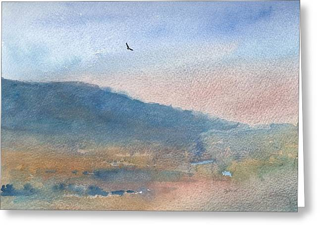 Hawk at Sunset over Stenbury Down Greeting Card by Alan Daysh