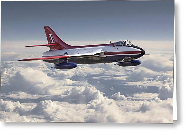 Military Aircraft Greeting Cards - Hawker Hunter Greeting Card by Pat Speirs