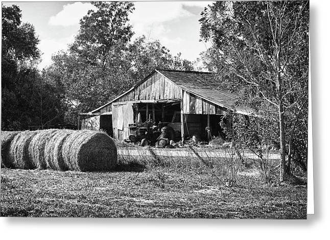 Watermelon Greeting Cards - Hay and the Old Barn - BW Greeting Card by Michael Thomas
