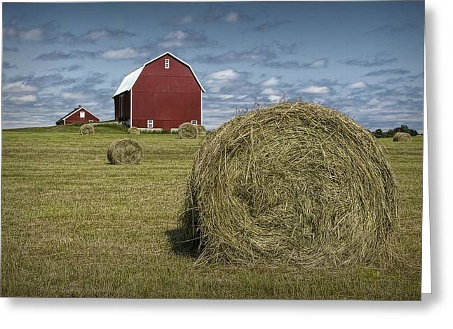 Harvest Art Greeting Cards - Hay Bales and Red Barn Greeting Card by Randall Nyhof