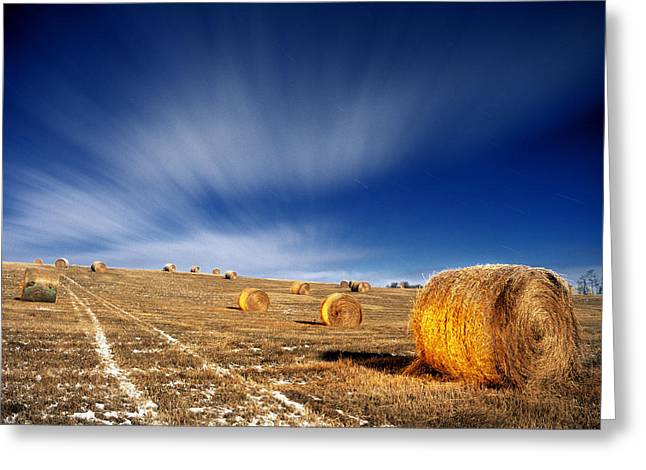 Without Lights Greeting Cards - Hay Bales Lit With Flashlight Greeting Card by Darwin Wiggett