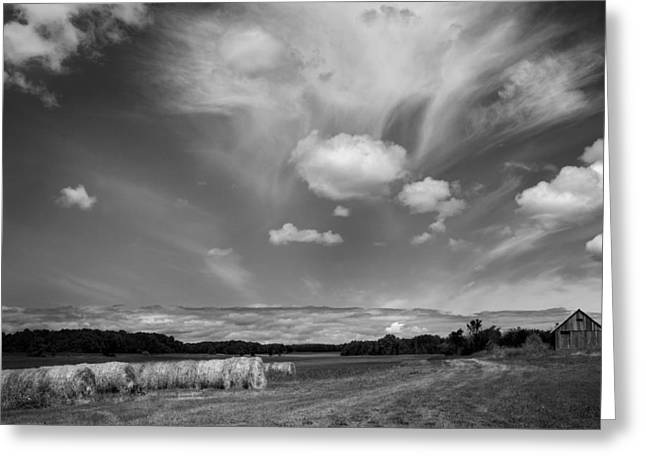 Stephen Mack Greeting Cards - Hay Field and Barn Clarks Lake Road Greeting Card by Stephen Mack