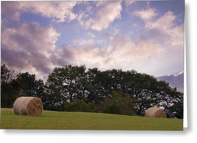 The Hills Greeting Cards - Hay Field Sunrise Greeting Card by Paul Huchton