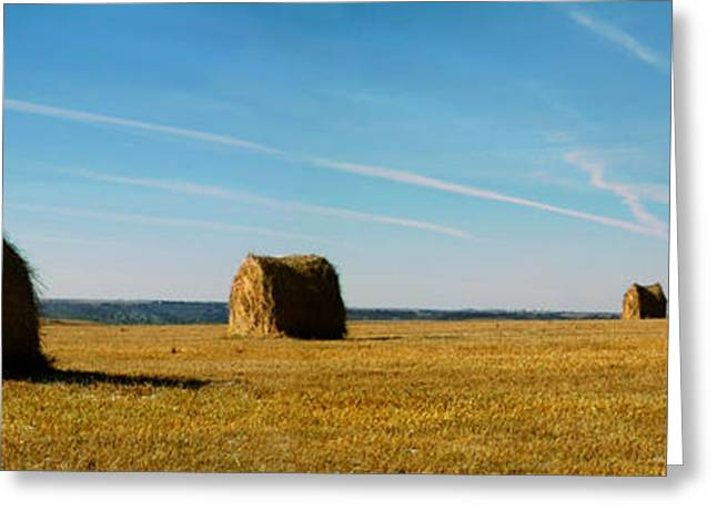 Haybale Greeting Cards - Haybales and Jet Trails Greeting Card by Rod Seel