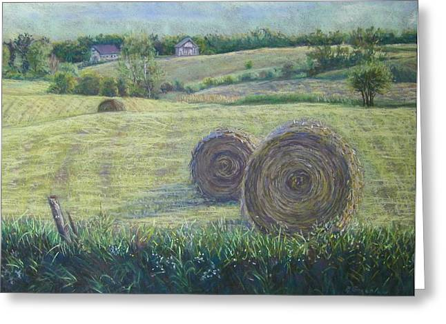 Haybales Pastels Greeting Cards - Haybales Durham County Greeting Card by Ruth Greenlaw