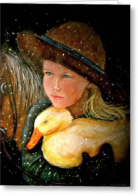 Girl And Animals Framed Prints Greeting Cards - Hayden Greeting Card by Susan Elise Shiebler