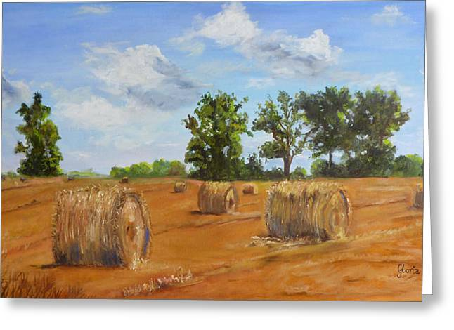 Harvest Time Greeting Cards - Hayfield Greeting Card by Gloria Smith