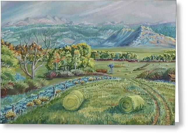 Hay Bales Greeting Cards - Haying Time in the Valley Greeting Card by Dawn Senior-Trask