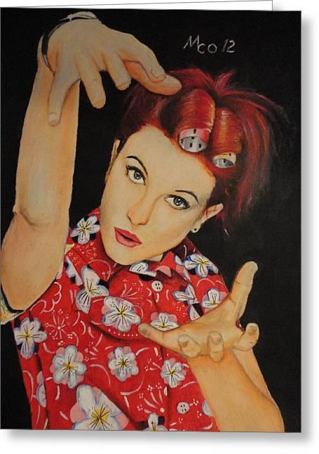 Hayley Williams Portrait Greeting Card by Michael Co
