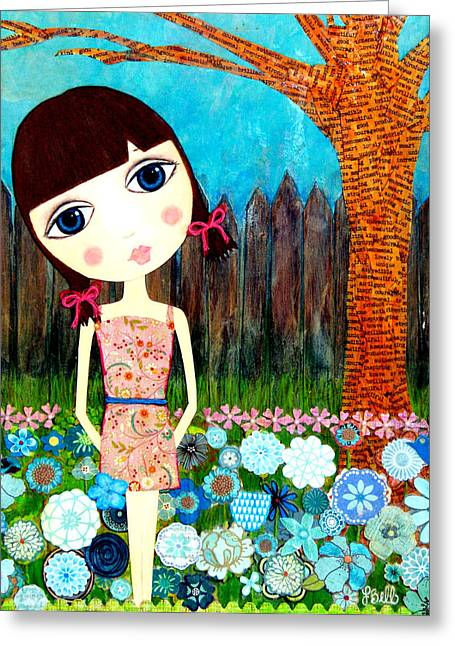 Cute Mixed Media Greeting Cards - Hayli Greeting Card by Laura Bell