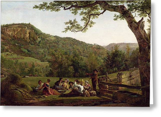 Crops Paintings Greeting Cards - Haymakers Picnicking in a Field Greeting Card by Jean Louis De Marne