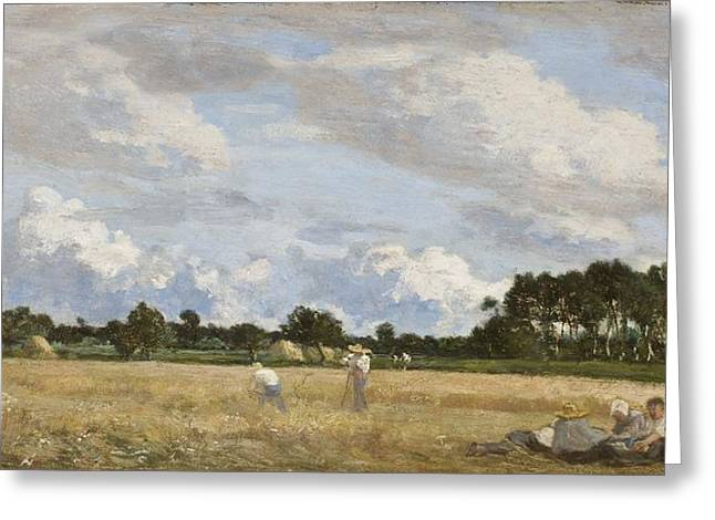 Noon Greeting Cards - Haymaking Greeting Card by Eugene Louis Boudin