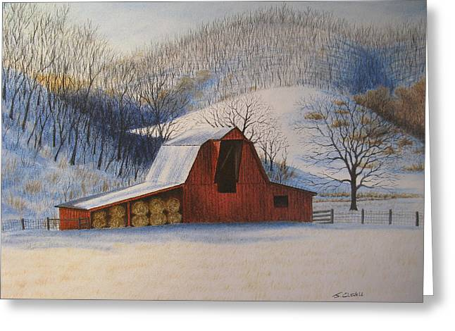 Snow Scene Landscape Pastels Greeting Cards - Hays In Greeting Card by James Clewell