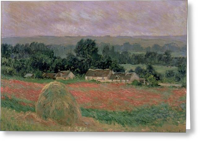 Crops Paintings Greeting Cards - Haystack at Giverny Greeting Card by Claude Monet