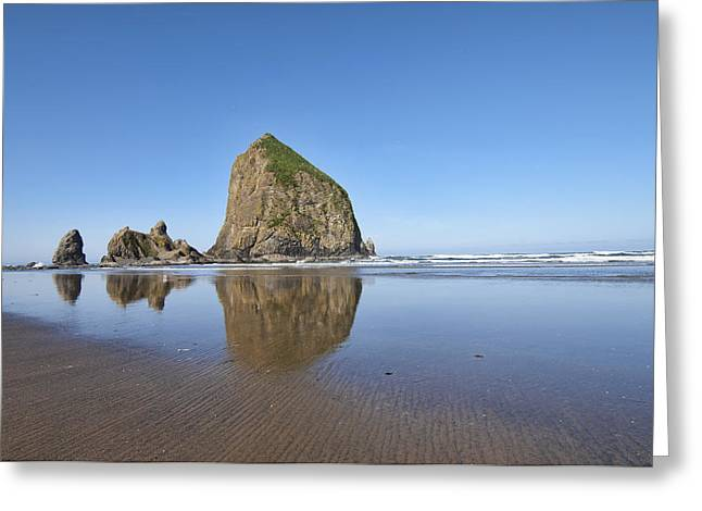 Leaning Pyrography Greeting Cards - Haystack Rock 3 Greeting Card by Mauro Celotti