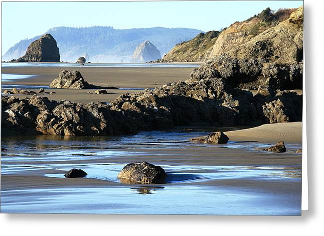 Haystack Rock From Arcadia Beach Greeting Card by Steven A Bash