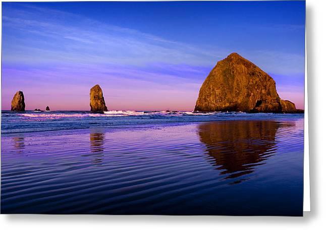 Cannon Beach Greeting Cards - Haystack Sunrise Greeting Card by Brian Bonham