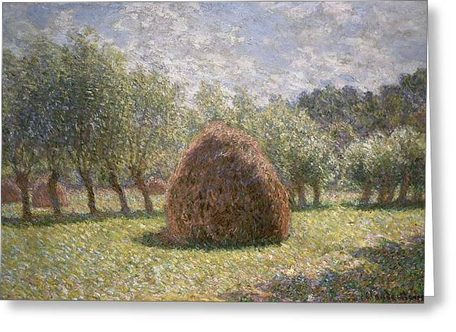 Crops Paintings Greeting Cards - Haystacks at Giverny Greeting Card by Claude Monet