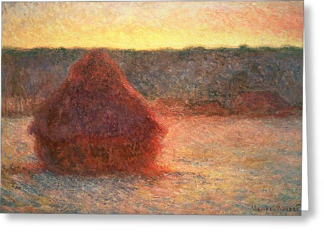 Bales Paintings Greeting Cards - Haystacks at Sunset Greeting Card by Claude Monet