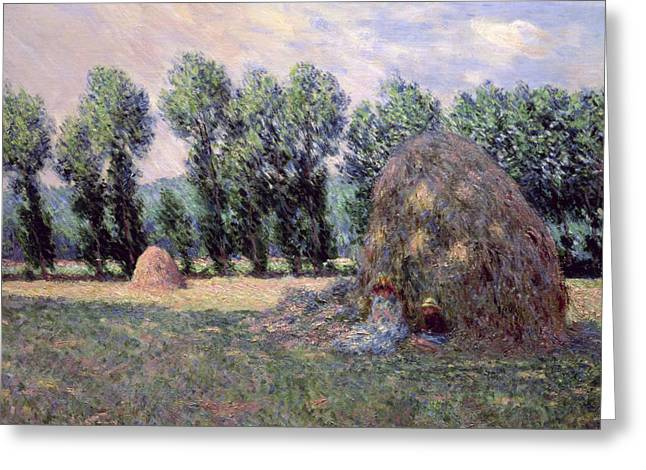 Hayrick Greeting Cards - Haystacks Greeting Card by Claude Monet