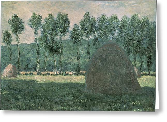 1884 (oil On Canvas) Greeting Cards - Haystacks near Giverny Greeting Card by Claude Monet