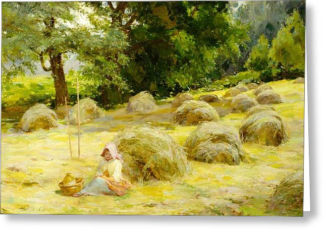 Bales Paintings Greeting Cards - Haytime Greeting Card by Rosa Appleton