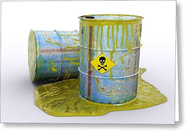 Toxic Waste Greeting Cards - Hazardous Waste, Artwork Greeting Card by Christian Darkin