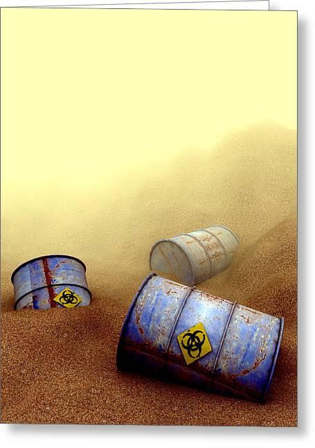 Terrorism Greeting Cards - Hazardous Waste Disposal, Artwork Greeting Card by Christian Darkin