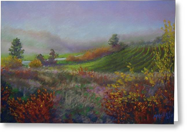 Vineyard Landscape Pastels Greeting Cards - Hazy Austrian Vineyard Greeting Card by Marcus Moller