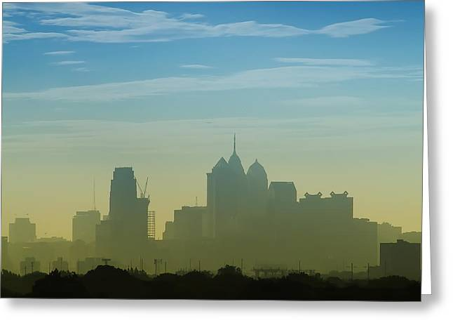 Hazy Days Greeting Cards - Hazy Day in Philly Greeting Card by Bill Cannon
