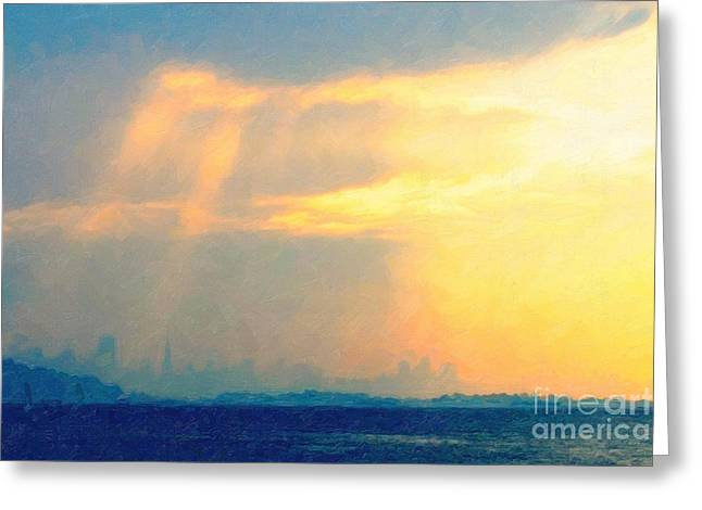 Downtown San Francisco Greeting Cards - Hazy Light Over San Francisco Greeting Card by Wingsdomain Art and Photography
