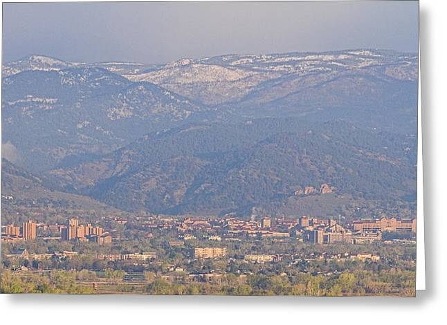 """james Insogna"" Greeting Cards - Hazy Low Cloud Morning Boulder Colorado University Scenic View  Greeting Card by James BO  Insogna"