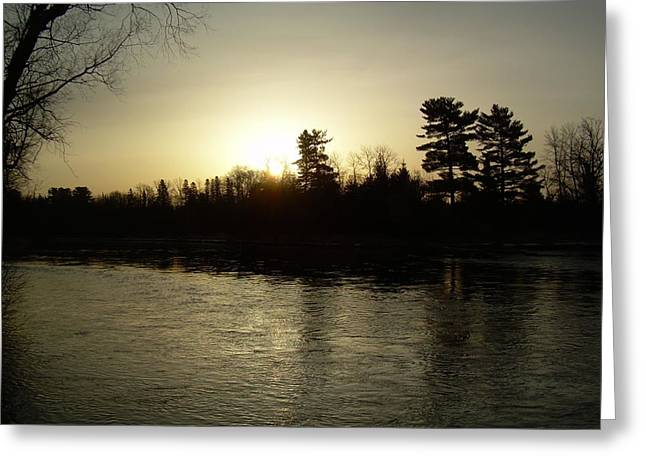 Mississippi River Pyrography Greeting Cards - Hazy Mississippi river Sunrise Greeting Card by Kent Lorentzen