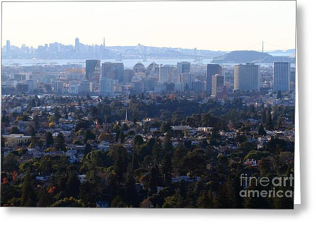 Alcatraz Greeting Cards - Hazy San Francisco Skyline Viewed Through The Oakland Skyline . 7D11341 Greeting Card by Wingsdomain Art and Photography