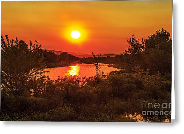 Landsacape Greeting Cards - Hazy Sunrise Greeting Card by Robert Bales