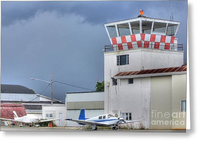 Pictures Buy Photography Greeting Cards - HDR Airport Control Tower Airplane Plane Airplanes Photos Pictures Photo Selling Sell Buy Gallery Greeting Card by Pictures HDR