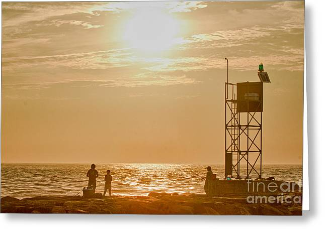 Oceanview Greeting Cards - HDR Beach Ocean Scenic Fishing Sunrise Photo Pictures Buy Sell Selling New Photography Oceanview Pic Greeting Card by Pictures HDR