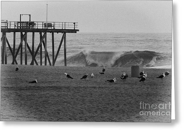 Beach Photographs Greeting Cards - HDR Black White Beach Beaches Ocean Sea Seaview Waves Pier Photos Pictures Photographs Photo Picture Greeting Card by Pictures HDR
