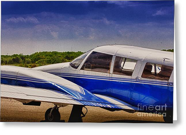 Hdr Photo Greeting Cards - HDR Blue Bright Blue Plane Airplane Cool Photo Effect Photography at Airport Pictures Photo Aircraft Greeting Card by Pictures HDR