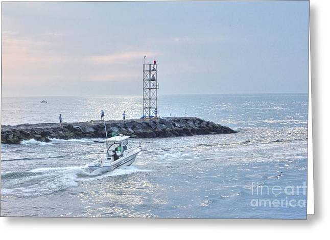 Seashell Picture Photographs Greeting Cards - HDR Boat Boats Ocean Sea Water Fishing Lighttower  Greeting Card by Pictures HDR