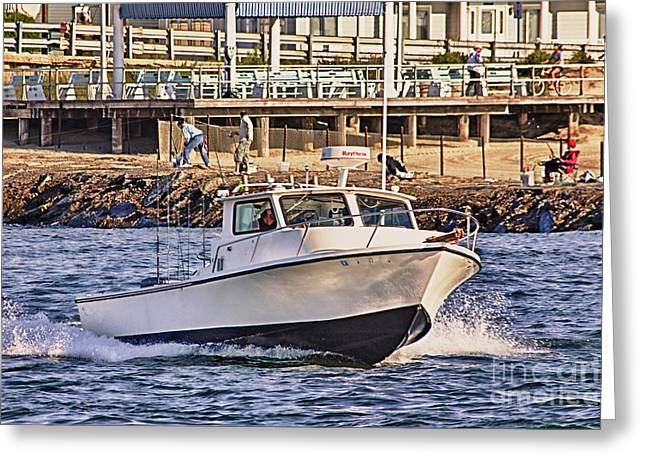 Oceanview Greeting Cards - HDR Boat Boats Sea Ocean Fishing Jetty Boadwalk Photos Pictures Photography Scenic Landscape Pics Greeting Card by Pictures HDR