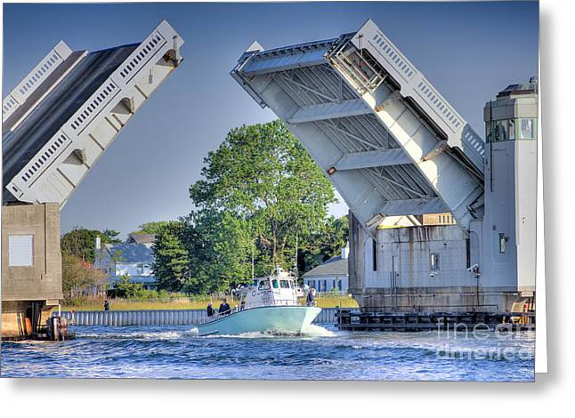 Buy Sell Photo Greeting Cards - HDR DrawBridge Boat Boats Sea Bay Ocean Water Photos Pictures Buy Sell Selling Photography Fishing  Greeting Card by Pictures HDR