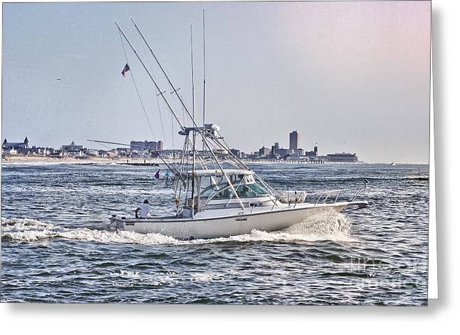 Oceanview Greeting Cards - HDR Fishing Boat Boats Sea Ocean Beach Beachtown Scenic Oceanview Photos Photography Pictures Photo  Greeting Card by Pictures HDR